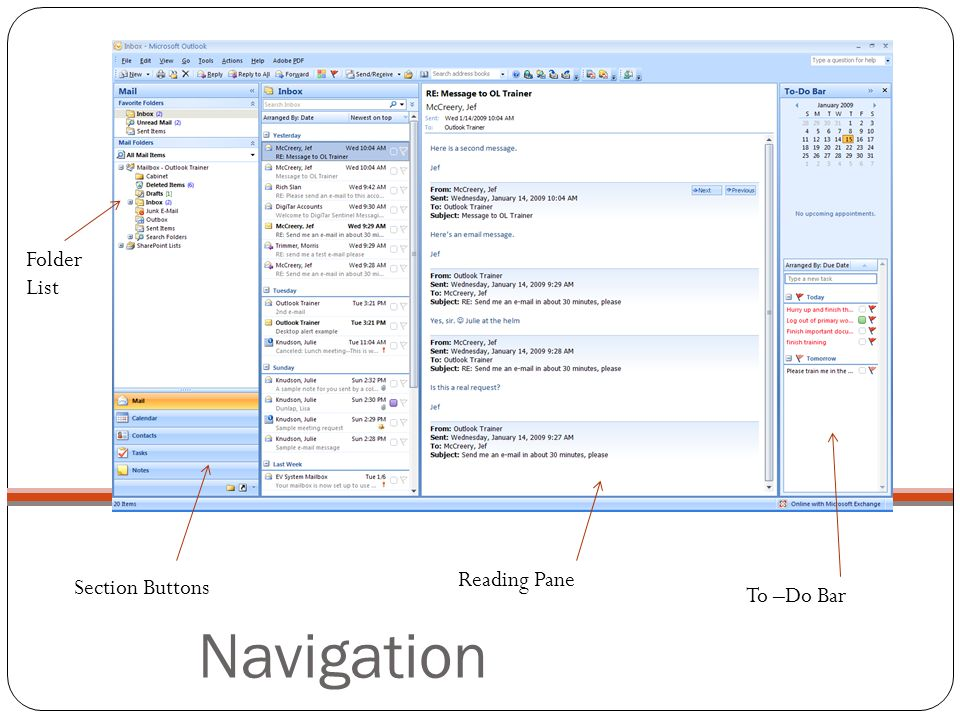 Navigation Folder List Reading Pane Section Buttons To –Do Bar