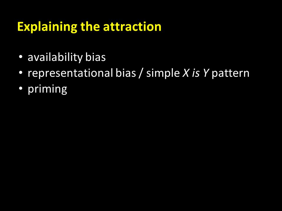 Explaining the attraction availability bias representational bias / simple X is Y pattern priming