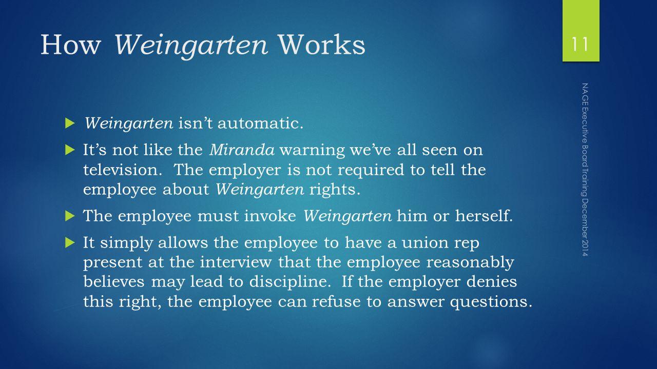 How Weingarten Works  Weingarten isn't automatic.