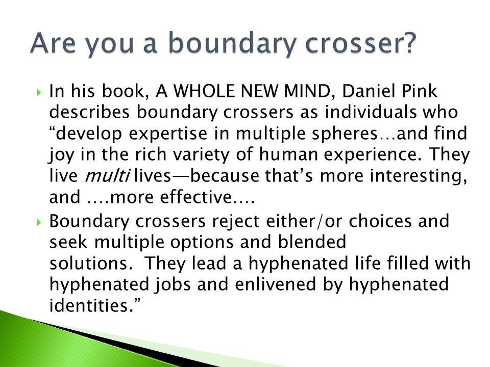  In his book, A WHOLE NEW MIND, Daniel Pink describes boundary crossers as individuals who develop expertise in multiple spheres…and find joy in the rich variety of human experience.