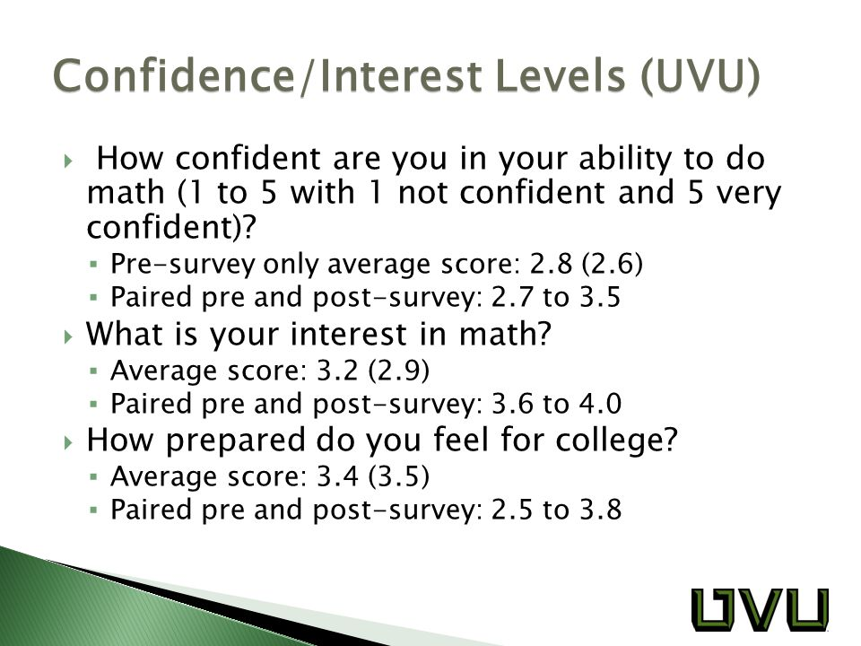  How confident are you in your ability to do math (1 to 5 with 1 not confident and 5 very confident).