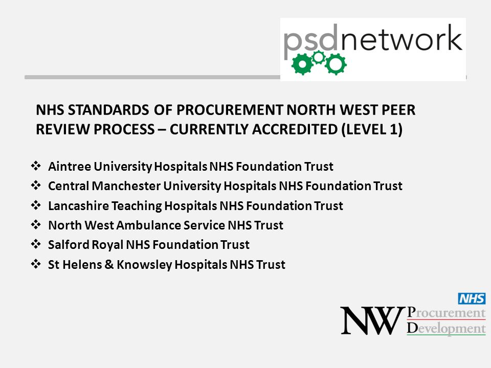 NHS STANDARDS OF PROCUREMENT NORTH WEST PEER REVIEW PROCESS – CURRENTLY ACCREDITED (LEVEL 1)  Aintree University Hospitals NHS Foundation Trust  Central Manchester University Hospitals NHS Foundation Trust  Lancashire Teaching Hospitals NHS Foundation Trust  North West Ambulance Service NHS Trust  Salford Royal NHS Foundation Trust  St Helens & Knowsley Hospitals NHS Trust
