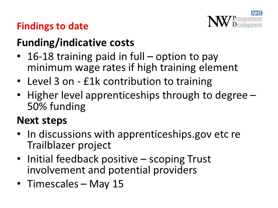 Findings to date Funding/indicative costs 16-18 training paid in full – option to pay minimum wage rates if high training element Level 3 on - £1k con
