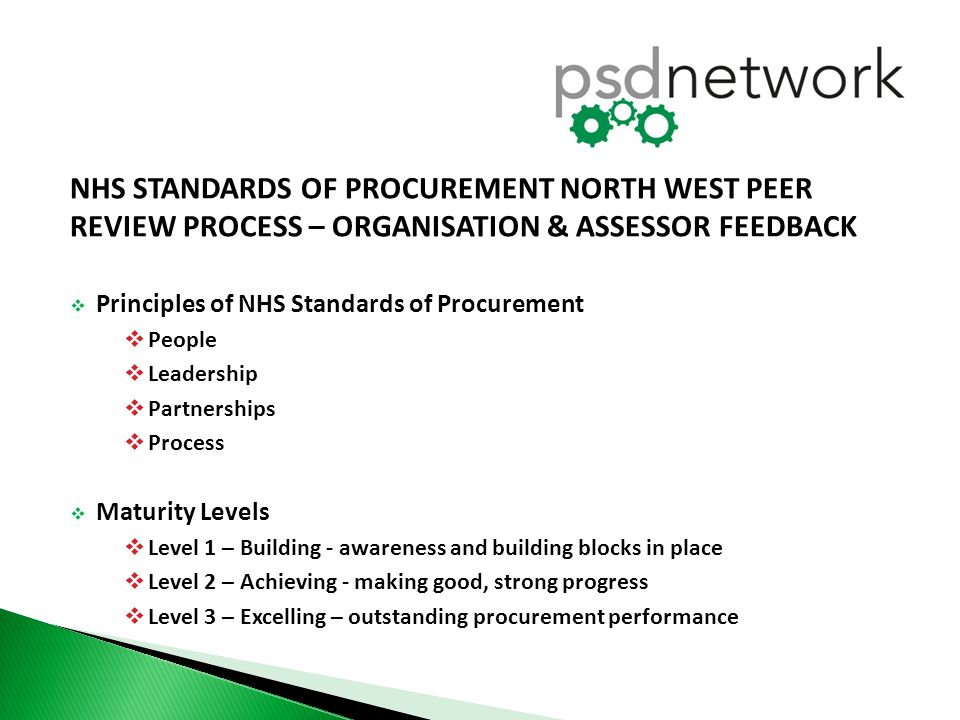 NHS STANDARDS OF PROCUREMENT NORTH WEST PEER REVIEW PROCESS – ORGANISATION & ASSESSOR FEEDBACK  Principles of NHS Standards of Procurement  People 