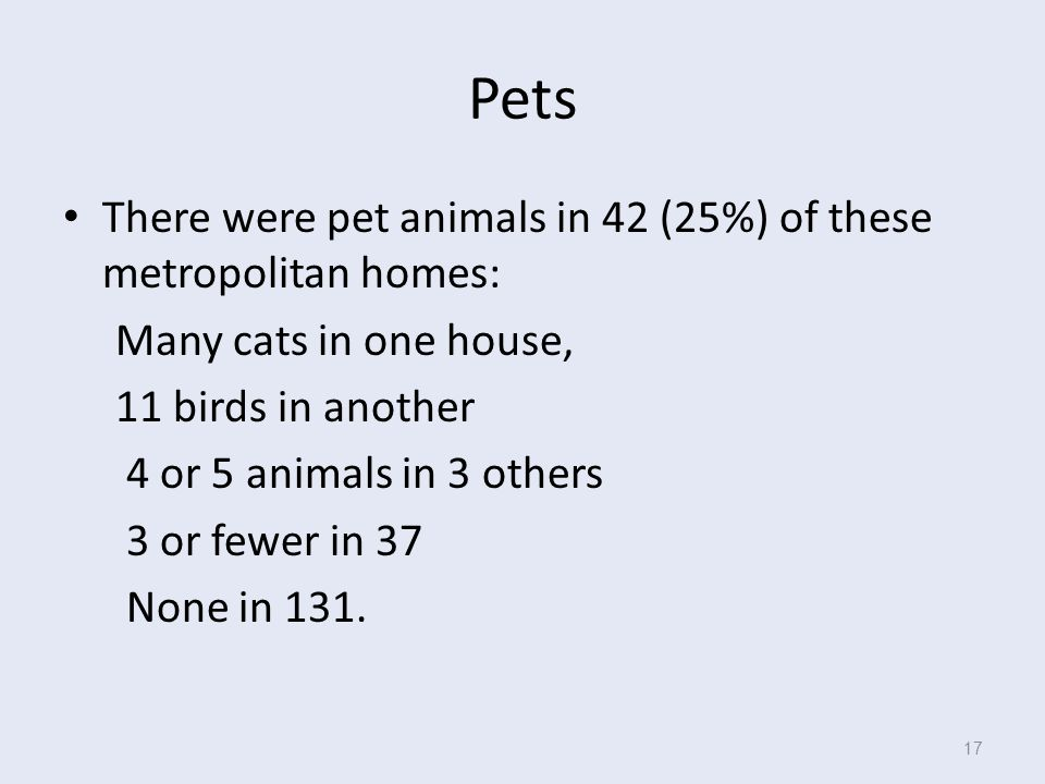 Pets There were pet animals in 42 (25%) of these metropolitan homes: Many cats in one house, 11 birds in another 4 or 5 animals in 3 others 3 or fewer in 37 None in 131.