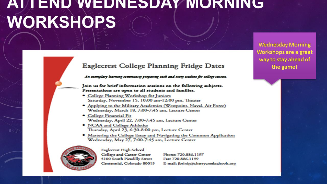 ATTEND WEDNESDAY MORNING WORKSHOPS Wednesday Morning Workshops are a great way to stay ahead of the game!