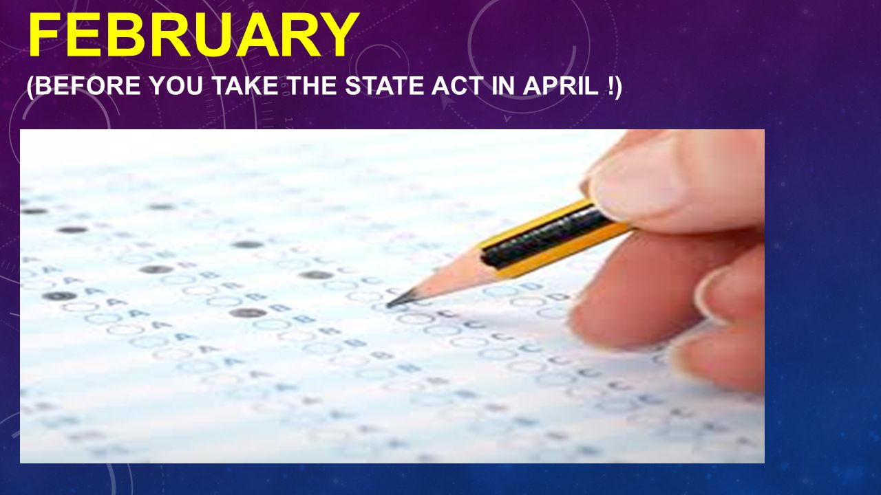 TAKE THE ACT IN FEBRUARY (BEFORE YOU TAKE THE STATE ACT IN APRIL !)