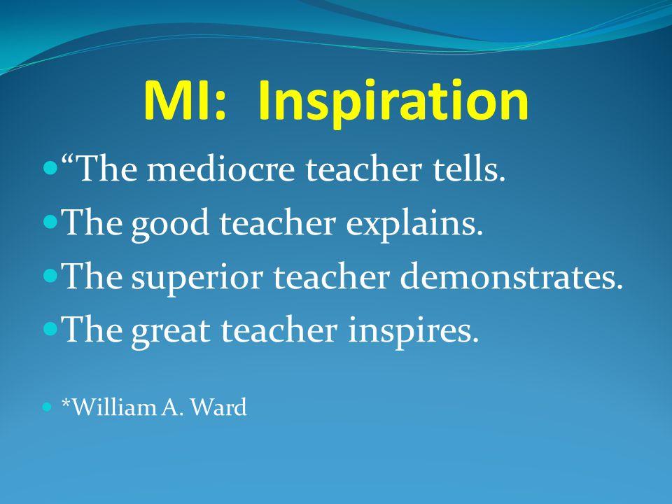 "MI: Inspiration ""The mediocre teacher tells. The good teacher explains. The superior teacher demonstrates. The great teacher inspires. *William A. War"