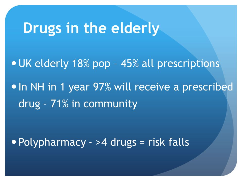 Drugs in the elderly UK elderly 18% pop – 45% all prescriptions In NH in 1 year 97% will receive a prescribed drug – 71% in community Polypharmacy - >4 drugs = risk falls