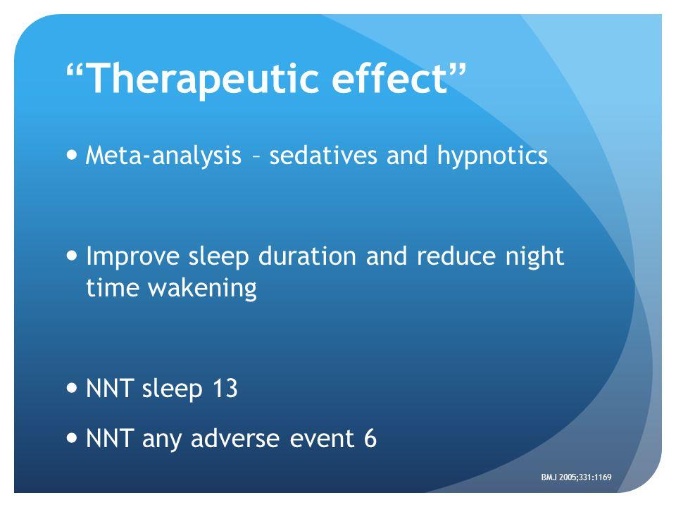 """Therapeutic effect"" Meta-analysis – sedatives and hypnotics Improve sleep duration and reduce night time wakening NNT sleep 13 NNT any adverse event"