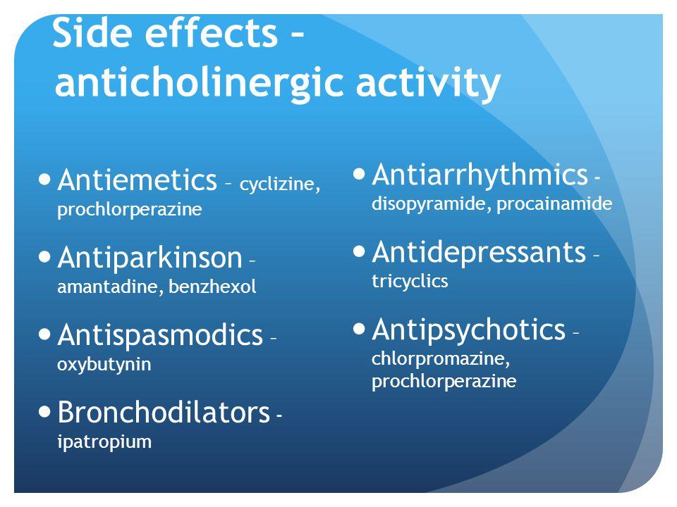 Side effects – anticholinergic activity Antiemetics – cyclizine, prochlorperazine Antiparkinson – amantadine, benzhexol Antispasmodics – oxybutynin Br