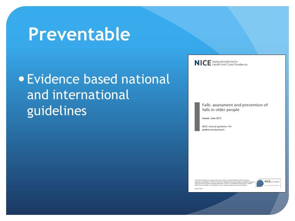 Preventable Evidence based national and international guidelines N