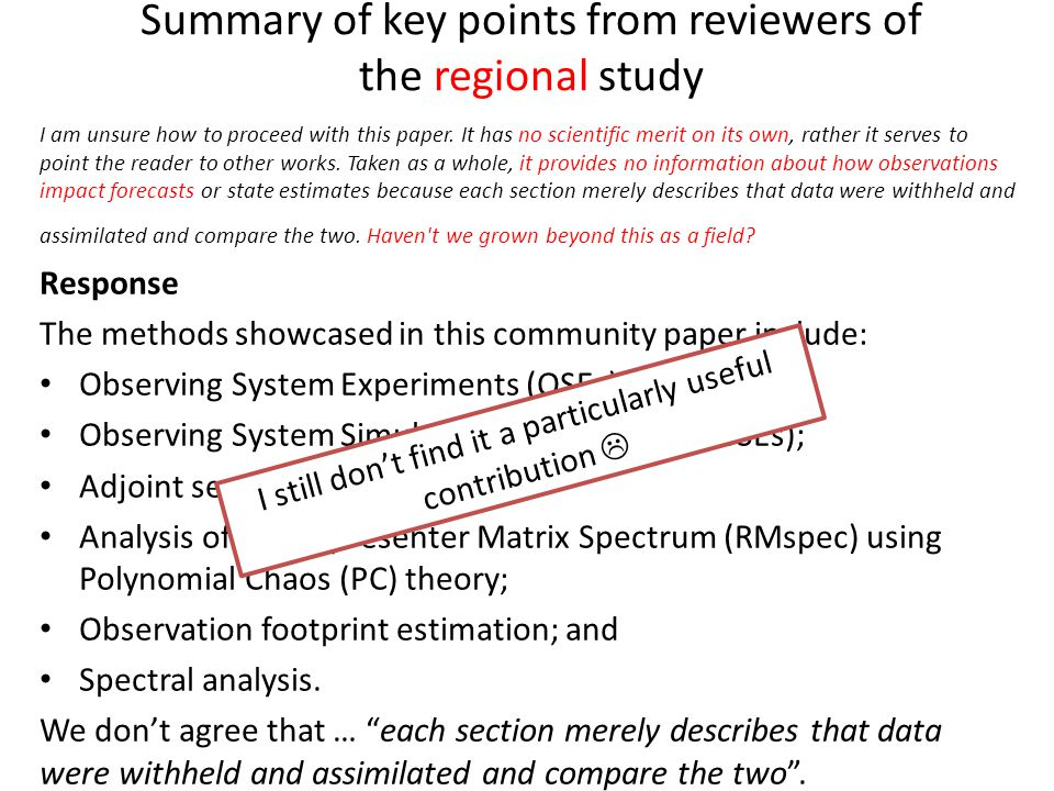 Summary of key points from reviewers of the regional study I am unsure how to proceed with this paper.