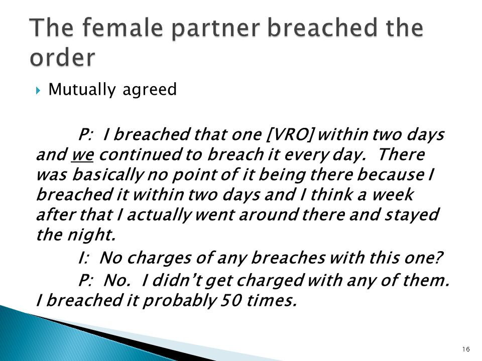  Mutually agreed P: I breached that one [VRO] within two days and we continued to breach it every day.