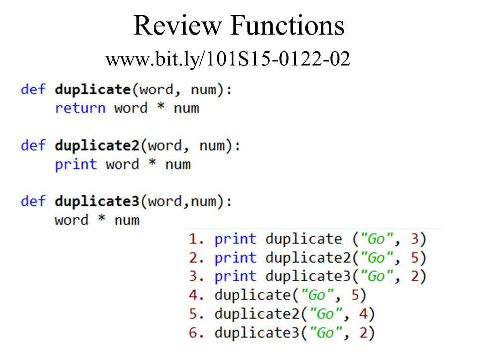 Review Functions www.bit.ly/101S15-0122-02 compsci101 spring1512