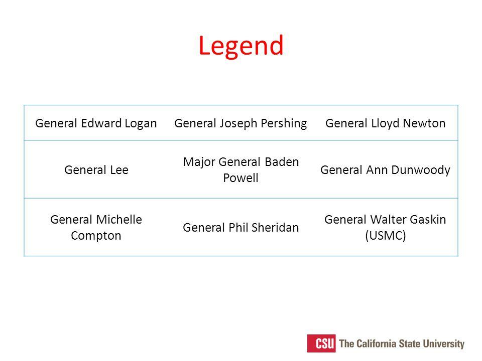 Legend General Edward LoganGeneral Joseph PershingGeneral Lloyd Newton General Lee Major General Baden Powell General Ann Dunwoody General Michelle Compton General Phil Sheridan General Walter Gaskin (USMC)