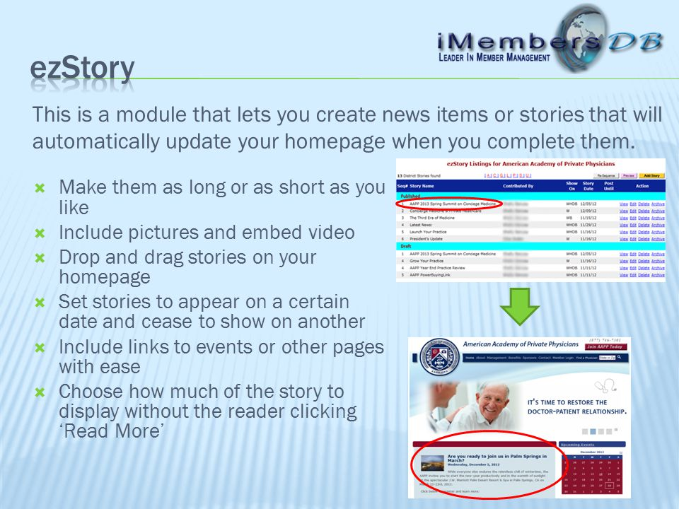This is a module that lets you create news items or stories that will automatically update your homepage when you complete them.