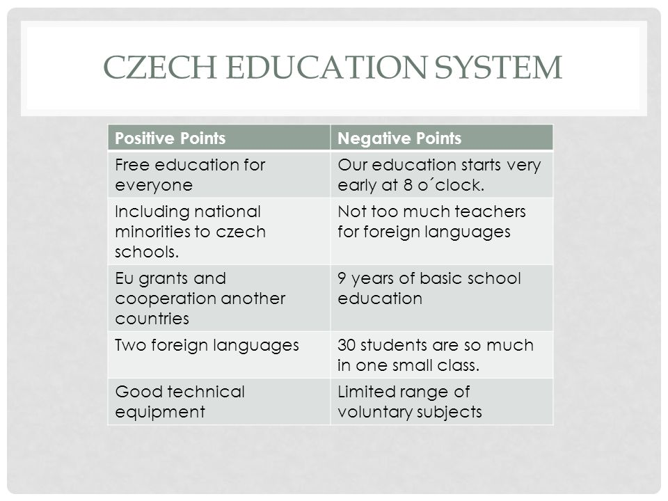 TURKISH EDUCATIONAL SYSTEM Positive PointsNegative Points We use technology in our classes.
