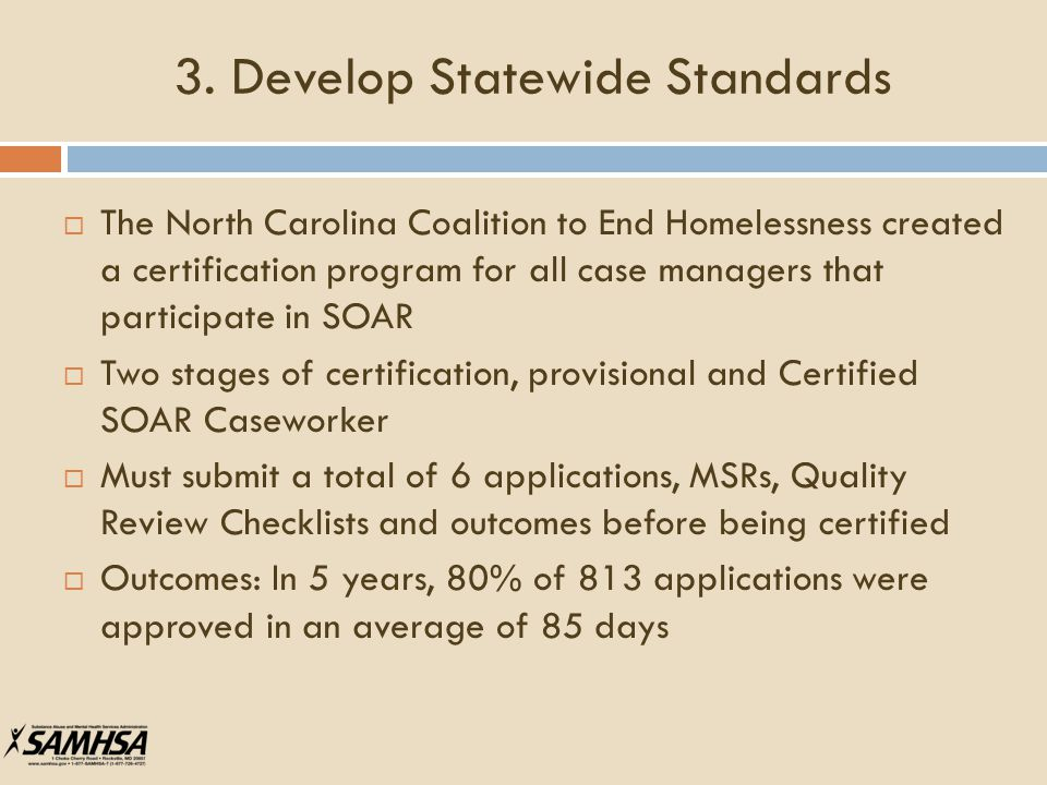 3. Develop Statewide Standards  The North Carolina Coalition to End Homelessness created a certification program for all case managers that participa