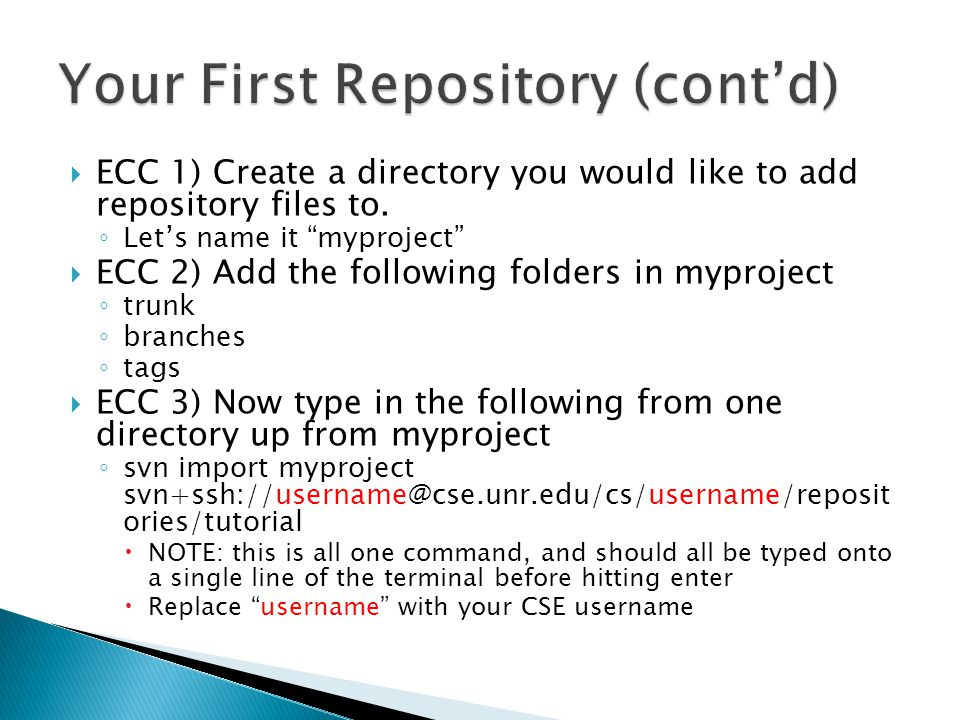  ECC 1) Create a directory you would like to add repository files to.