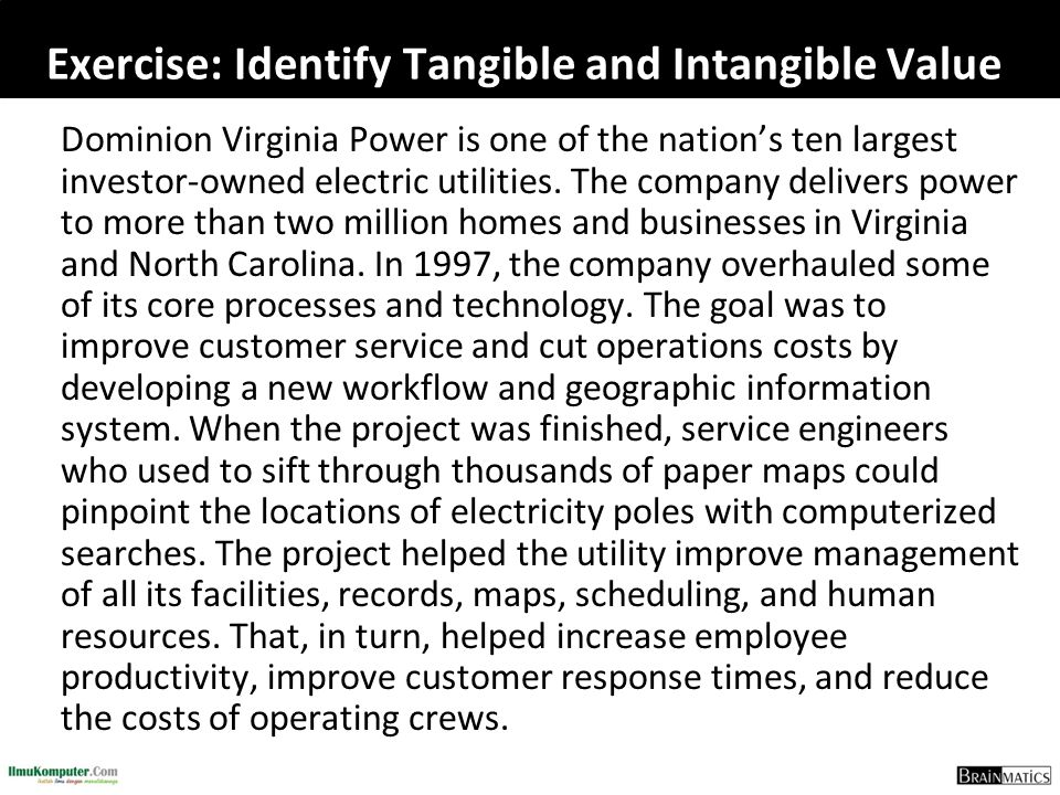 Exercise: Identify Tangible and Intangible Value Dominion Virginia Power is one of the nation's ten largest investor-owned electric utilities. The com
