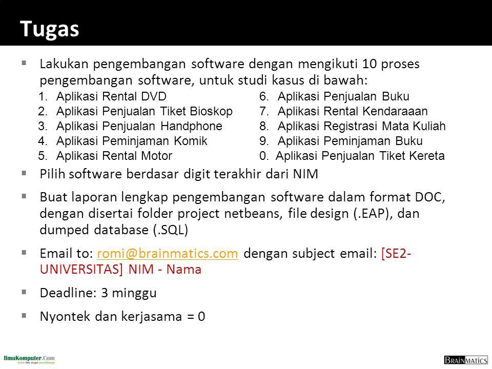 Tugas  Lakukan pengembangan software dengan mengikuti 10 proses pengembangan software, untuk studi kasus di bawah:  Pilih software berdasar digit terakhir dari NIM  Buat laporan lengkap pengembangan software dalam format DOC, dengan disertai folder project netbeans, file design (.EAP), dan dumped database (.SQL)  Email to: romi@brainmatics.com dengan subject email: [SE2- UNIVERSITAS] NIM - Namaromi@brainmatics.com  Deadline: 3 minggu  Nyontek dan kerjasama = 0 1.
