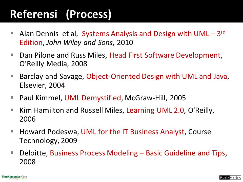 Referensi (Process)  Alan Dennis et al, Systems Analysis and Design with UML – 3 rd Edition, John Wiley and Sons, 2010  Dan Pilone and Russ Miles, H