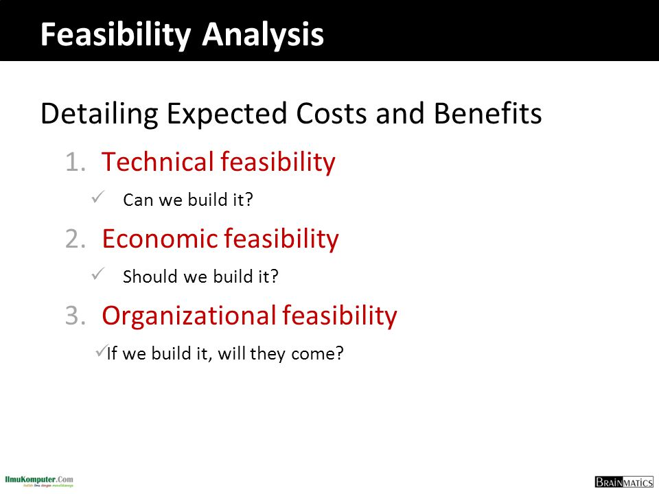 Detailing Expected Costs and Benefits 1.Technical feasibility Can we build it? 2.Economic feasibility Should we build it? 3.Organizational feasibility