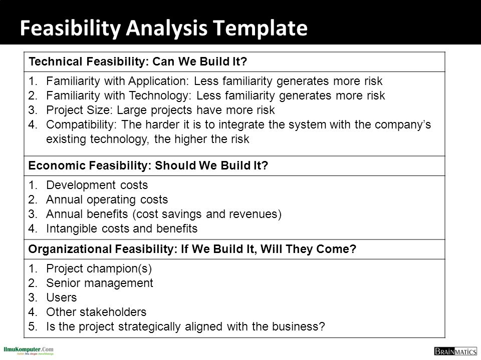 Feasibility Analysis Template Technical Feasibility: Can We Build It? 1.Familiarity with Application: Less familiarity generates more risk 2.Familiari