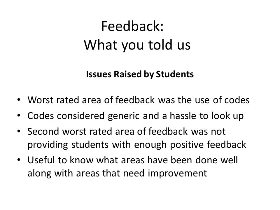 Feedback: What you told us Issues Raised by Students Worst rated area of feedback was the use of codes Codes considered generic and a hassle to look up Second worst rated area of feedback was not providing students with enough positive feedback Useful to know what areas have been done well along with areas that need improvement