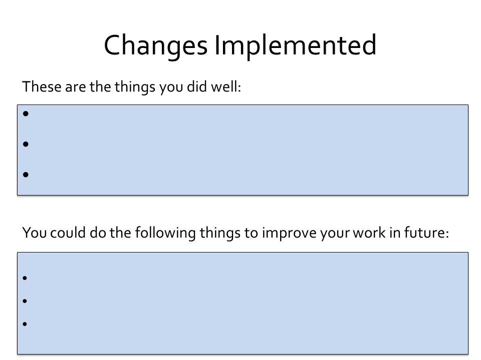 Changes Implemented These are the things you did well: You could do the following things to improve your work in future: