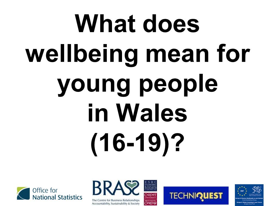 What does wellbeing mean for young people in Wales (16-19)?