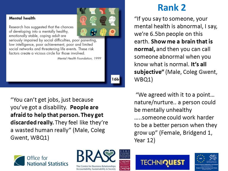Rank 2 If you say to someone, your mental health is abnormal, I say, we're 6.5bn people on this earth.