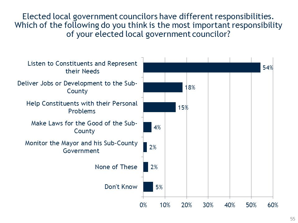 Elected local government councilors have different responsibilities.