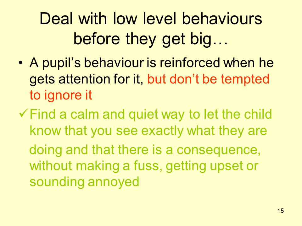 15 Deal with low level behaviours before they get big… A pupil's behaviour is reinforced when he gets attention for it, but don't be tempted to ignore it Find a calm and quiet way to let the child know that you see exactly what they are doing and that there is a consequence, without making a fuss, getting upset or sounding annoyed