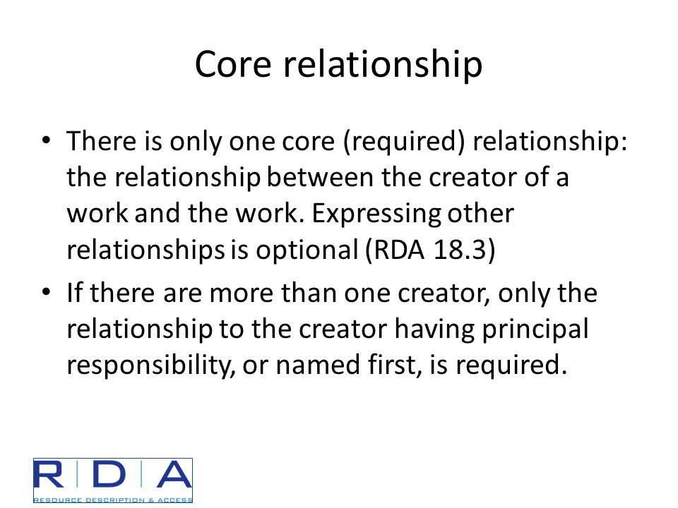 Core relationship There is only one core (required) relationship: the relationship between the creator of a work and the work.