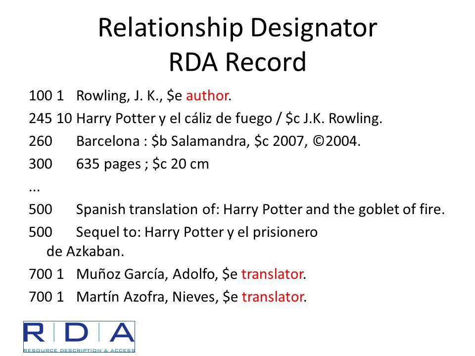 Relationship Designator RDA Record 100 1Rowling, J. K., $e author. 245 10Harry Potter y el cáliz de fuego / $c J.K. Rowling. 260Barcelona : $b Salaman
