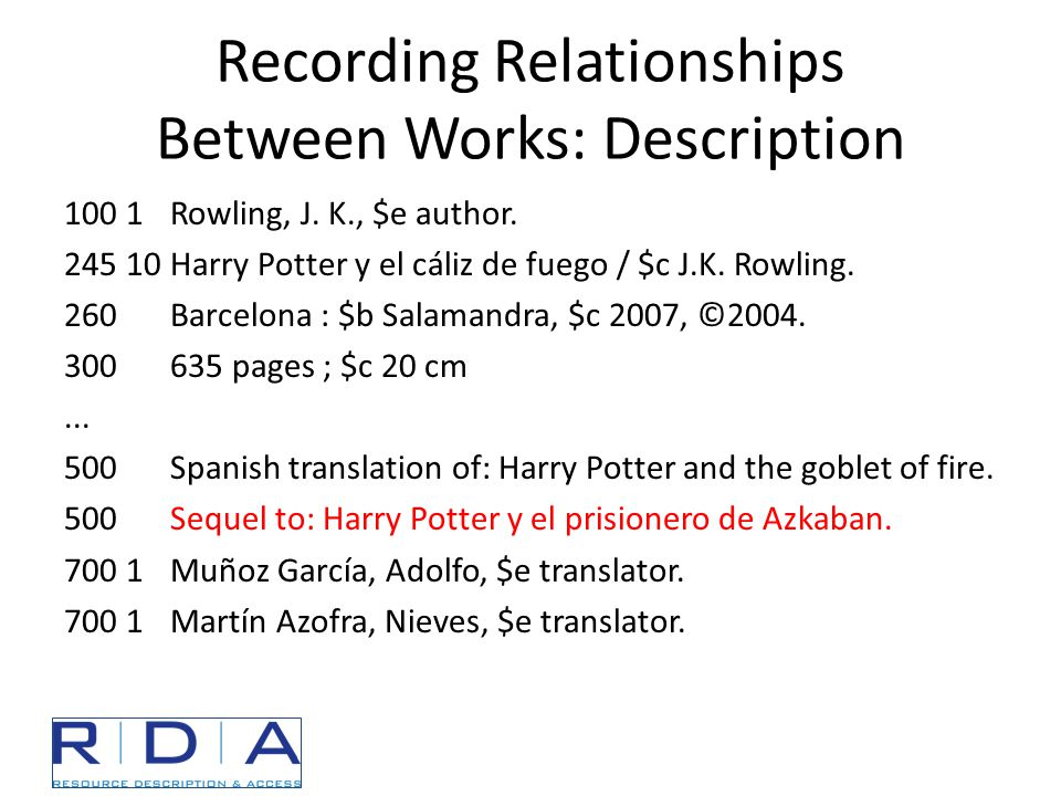 Recording Relationships Between Works: Description 100 1Rowling, J.