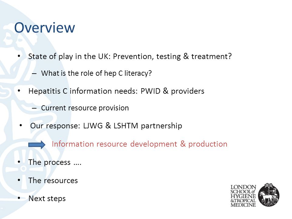 Overview State of play in the UK: Prevention, testing & treatment.