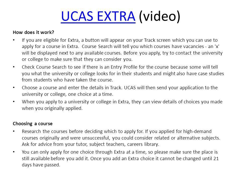 UCAS EXTRAUCAS EXTRA (video) How does it work.