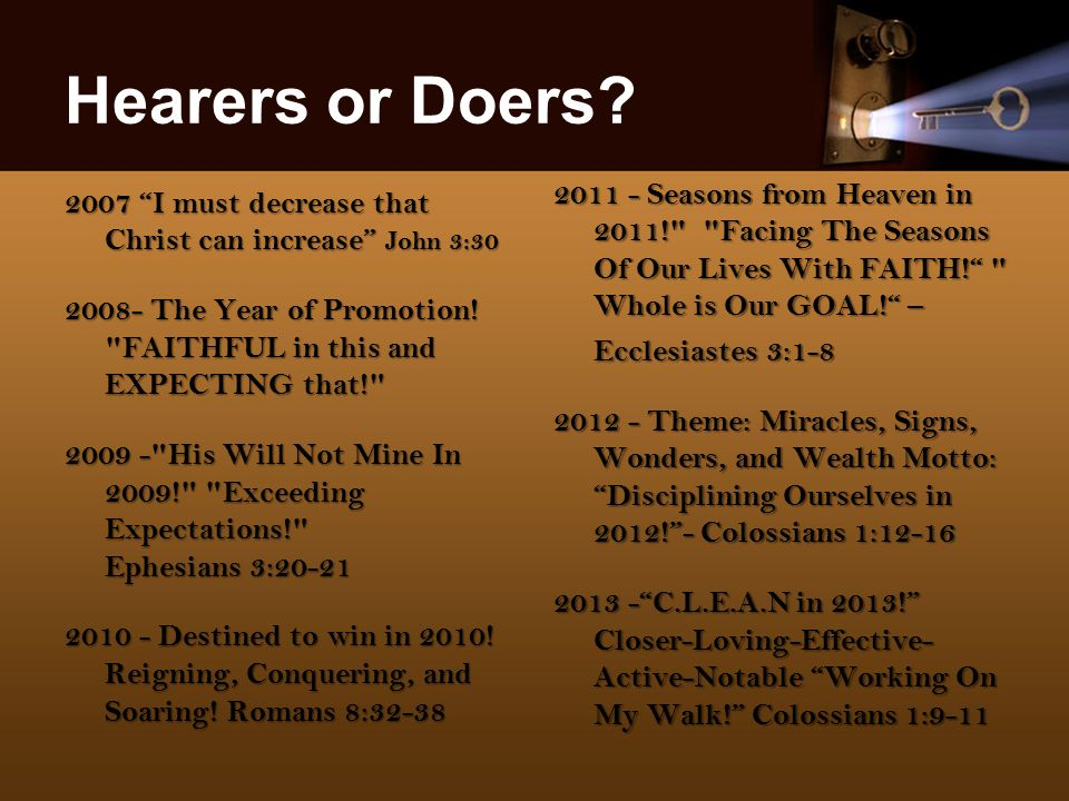 Hearers or Doers.