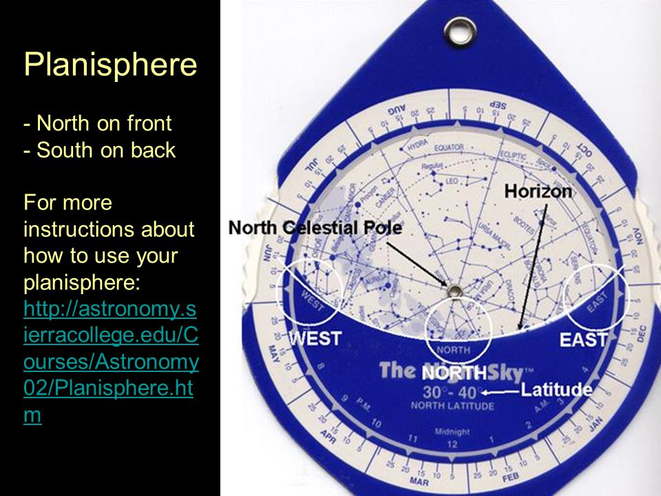 Planisphere - North on front - South on back For more instructions about how to use your planisphere: http://astronomy.s ierracollege.edu/C ourses/Astronomy 02/Planisphere.ht m http://astronomy.s ierracollege.edu/C ourses/Astronomy 02/Planisphere.ht m
