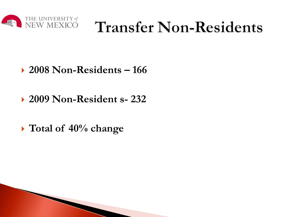  2008 Non-Residents – 166  2009 Non-Resident s- 232  Total of 40% change