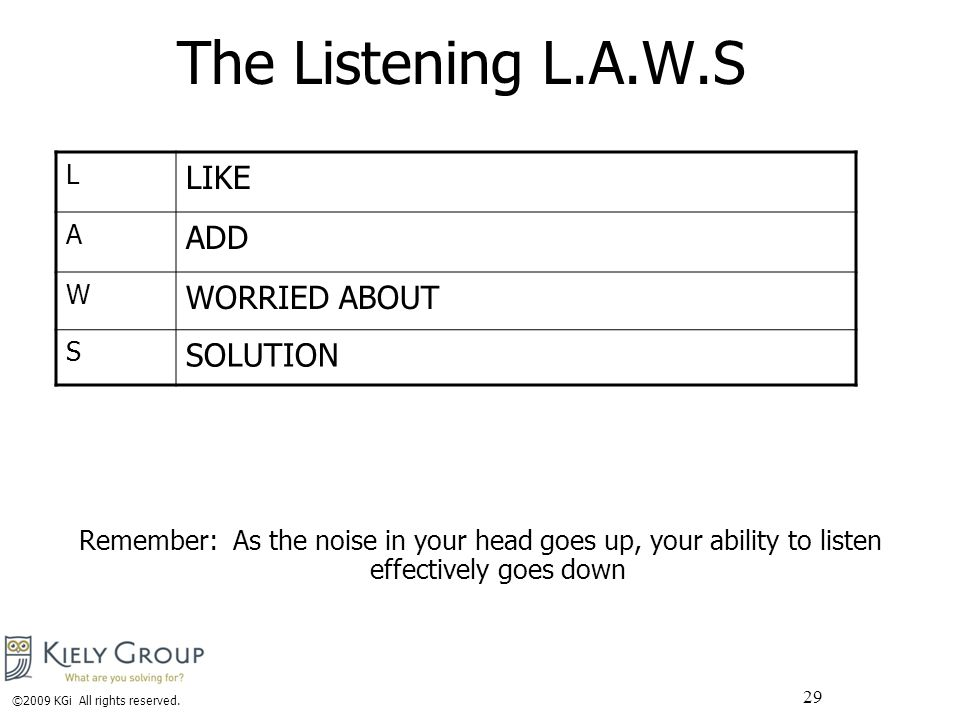 29 The Listening L.A.W.S Remember: As the noise in your head goes up, your ability to listen effectively goes down L LIKE A ADD W WORRIED ABOUT S SOLUTION ©2009 KGi All rights reserved.