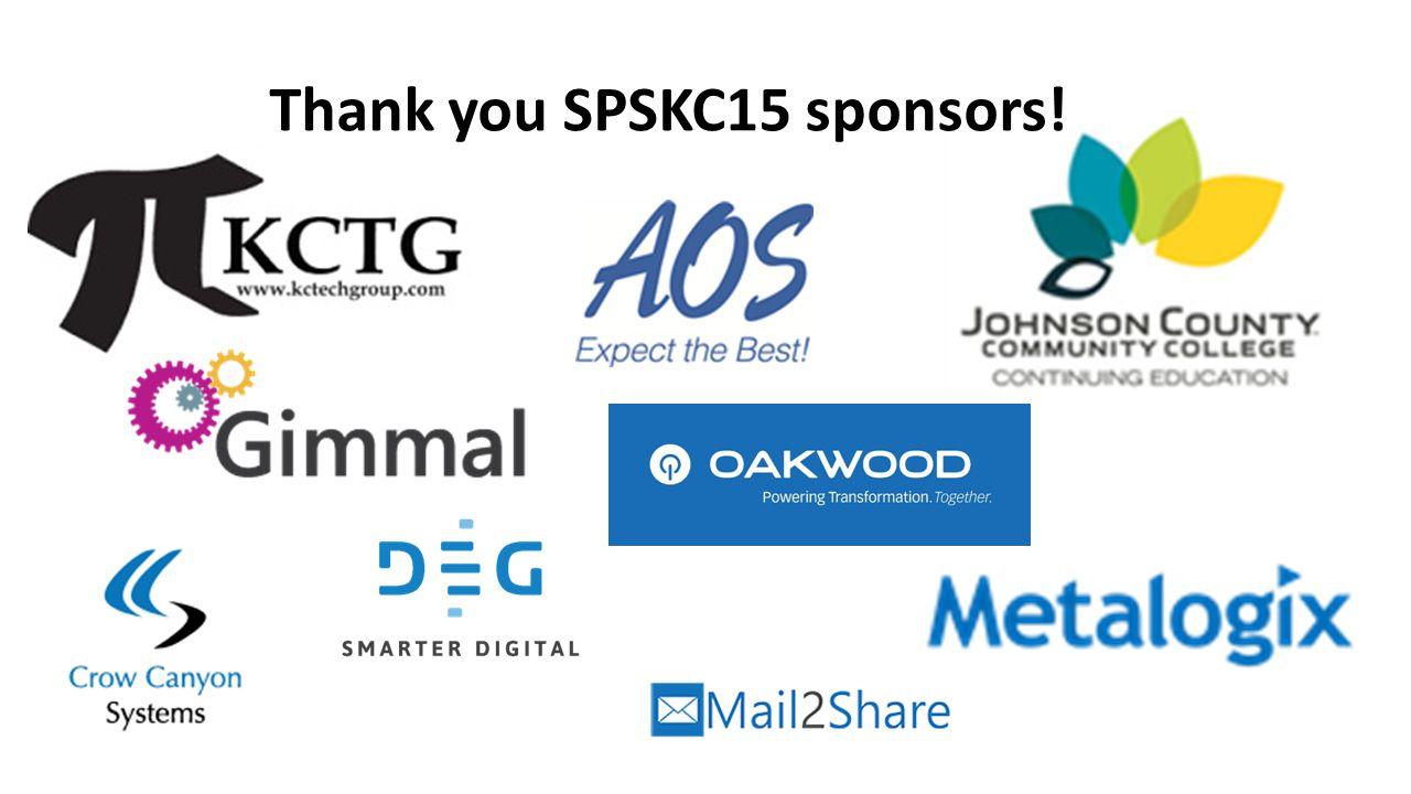 Thank you SPSKC15 sponsors!