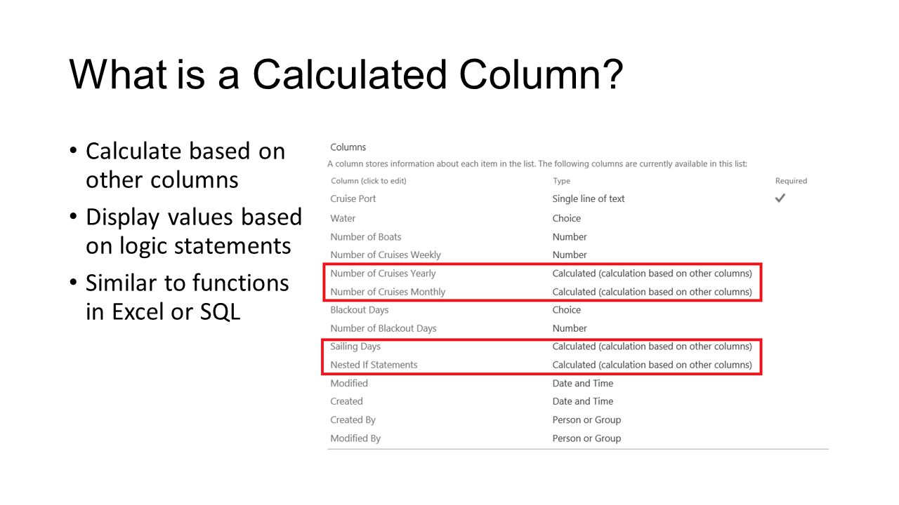 What is a Calculated Column.