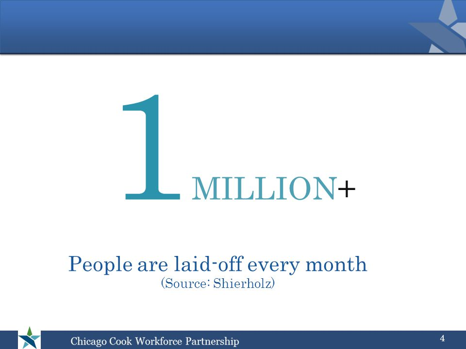 People are laid-off every month (Source: Shierholz) 1 MILLION+ 4
