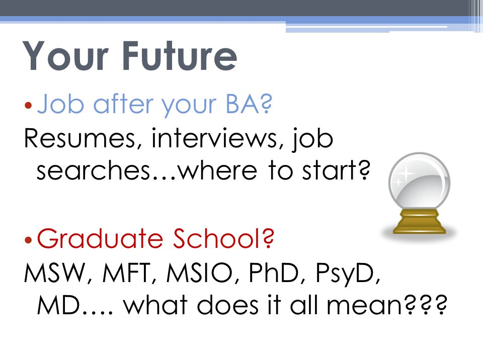 Your Future Job after your BA. Resumes, interviews, job searches…where to start.