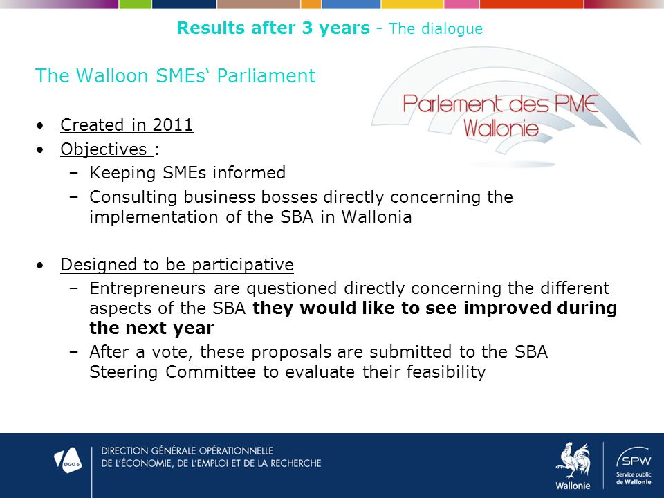 The Walloon SMEs' Parliament Created in 2011 Objectives : –Keeping SMEs informed –Consulting business bosses directly concerning the implementation of the SBA in Wallonia Designed to be participative –Entrepreneurs are questioned directly concerning the different aspects of the SBA they would like to see improved during the next year –After a vote, these proposals are submitted to the SBA Steering Committee to evaluate their feasibility Results after 3 years - The dialogue