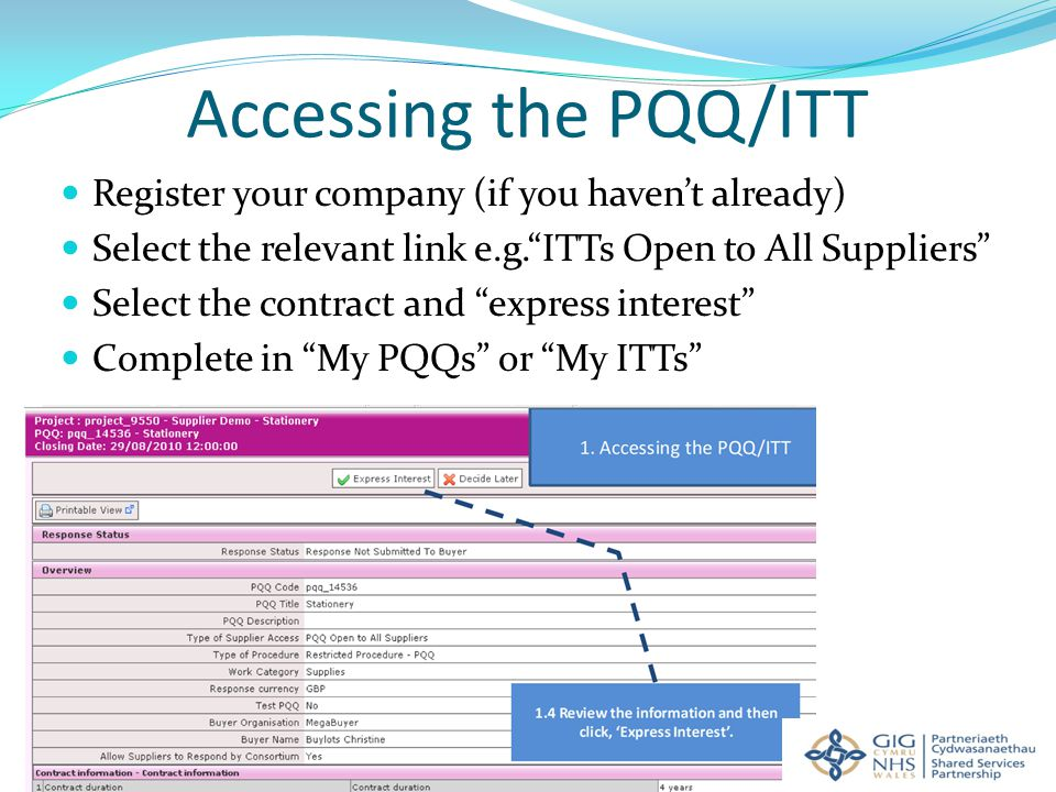 Accessing the PQQ/ITT Register your company (if you haven't already) Select the relevant link e.g. ITTs Open to All Suppliers Select the contract and express interest Complete in My PQQs or My ITTs